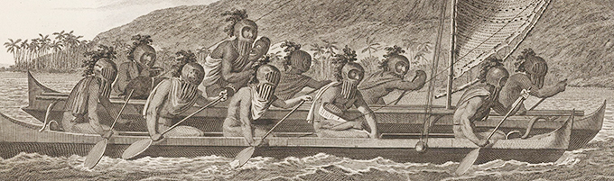 Canoe_of_the_Sandwich_Islands _the_Rowers_Masked_by_John_Webber-copie