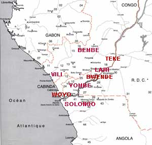 Carte de la région Kongo