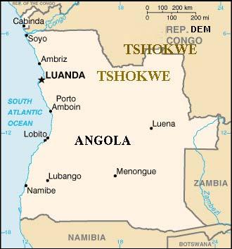 Carte du pays Tshokwe